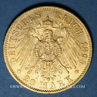 Monnaies Prusse. Guillaume II (1888-1918). 20 mark 1895A. (PTL900/1000. 7,96 g)