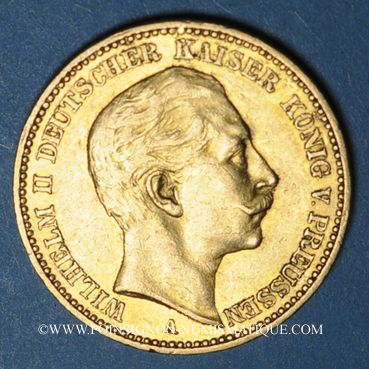 Monnaies Prusse. Guillaume II (1888-1918). 20 mark 1899A. (PTL 900/1000. 7,96 g)