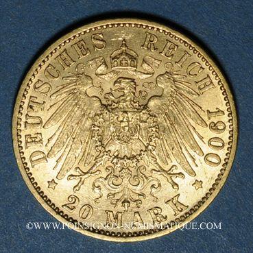 Monnaies Prusse. Guillaume II (1888-1918). 20 mark 1900A. (PTL 900/1000. 7,96 g)