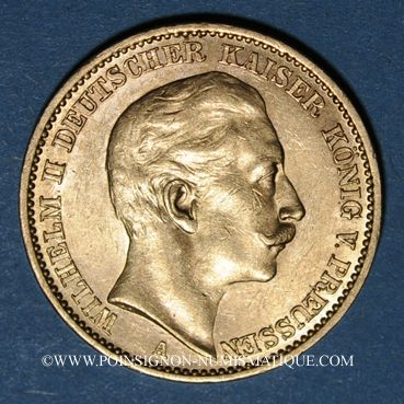 Monnaies Prusse. Guillaume II (1888-1918). 20 mark 1910A. (PTL 900/1000. 7,96 g)