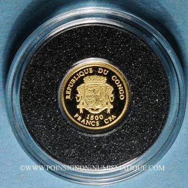 Monnaies République du Congo. 1 500 francs C.F.A. 2007. Napoléon I. (PTL 999‰. 0,5 g)