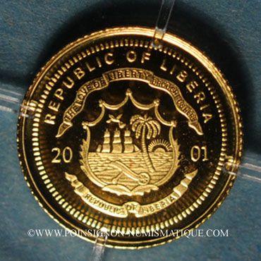 Monnaies République du Libéria. 25 dollars Marco Polo 2001. (PTL 999/1000. 0,73 g)