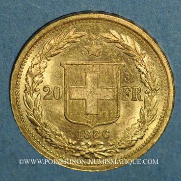 Monnaies Suisse. Confédération. 20 francs Helvetia 1886B. (PTL 900 /1000. 6,45 g)
