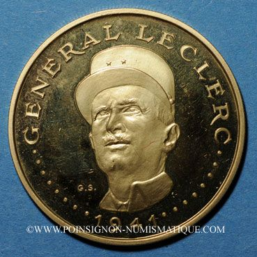 Monnaies Tchad. 5000 francs (1970). Général Leclerc. (PTL 900‰. 17,5 g)