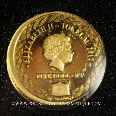 Monnaies Tokelau. Elisabeth II (1952 -/). 5 dollars 2012 (PTL 999‰. 0,5 g)