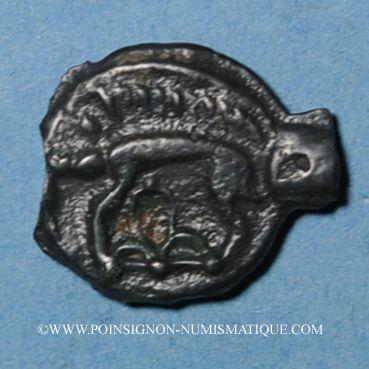 Monnaies Leuques. Région de Toul. 2e moitié du 1er siècle av. J-C. Potin, classe Ic avec sanglier à gauche