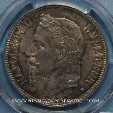 Monnaies 2e empire (1852-1870). 5 francs tête laurée 1870BB. Strasbourg