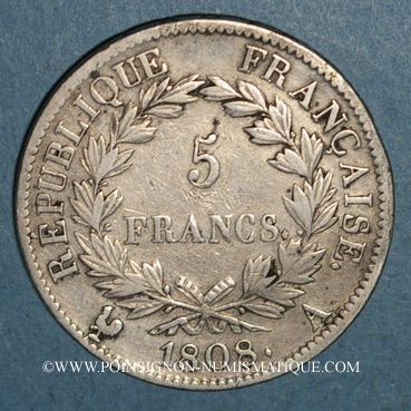 Monnaies 1er empire (1804-1814). 5 francs REPUBLIQUE 1808A
