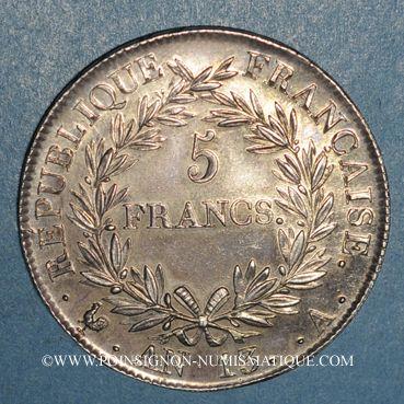 Monnaies 1er empire (1804-1814). 5 francs tête nue an 13A