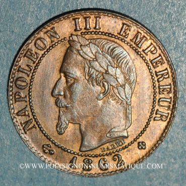 Monnaies 2e empire (1852-1870). 1 centime tête laurée 1862 BB. Strasbourg. Petit BB
