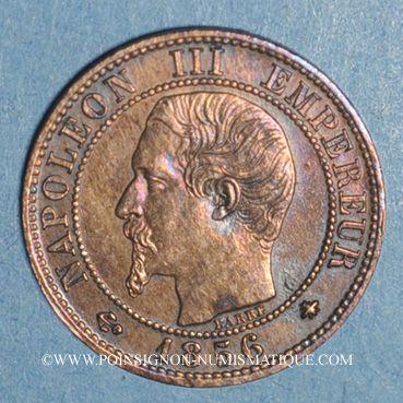 Monnaies 2e empire (1852-1870). 1 centime tête nue 1856BB. Strasbourg