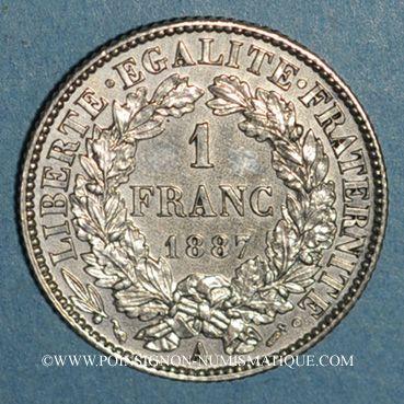 Monnaies 3e république (1870-1940). 1 franc Cérès 1887A