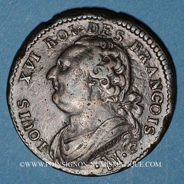 Monnaies Constitution (1791-1792). 12 deniers 1791°MA°. Marseille. Cuivre. Type FRANCOIS