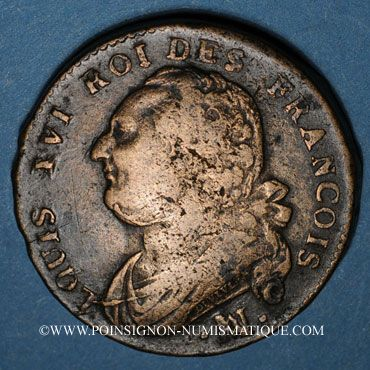 Monnaies Constitution (1791-1792). 12 deniers 1791°MA°. Marseille. MdC. Type FRANCOIS