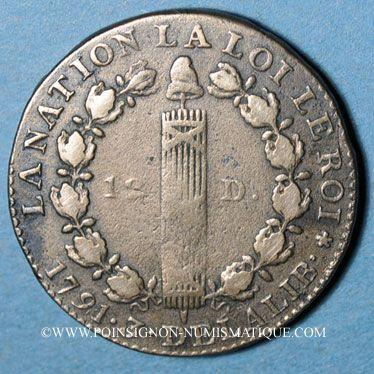 Monnaies Constitution (1791-1792). 12 deniers 1791A. Type FRANCOIS