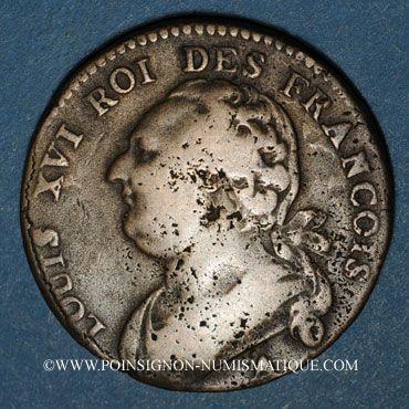 Monnaies Constitution (1791-1792). 12 deniers 1792A, an 3. Sans cédille. Type FRANCOIS. Rosette