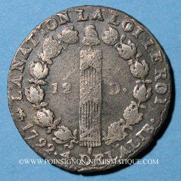 Monnaies Constitution (1791-1792). 12 deniers 1792A, an 4. Type FRANCOIS. Léopard à droite et lyre