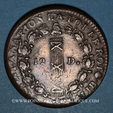 Monnaies Constitution (1791-1792). 12 deniers 1792B Rouen, type FRANCOIS