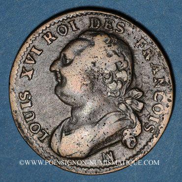 Monnaies Constitution (1791-1792). 12 deniers 1792MA. Marseille. Métal de cloche