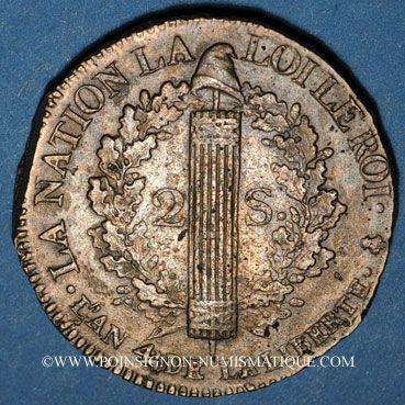 Monnaies Constitution (1791-1792). 2 sols 1792A, type FRANCOIS. Métal de cloche