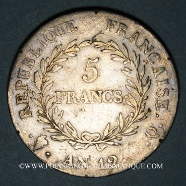 Monnaies Consulat (1799-1804). 5 francs 1er Consul an 12/XI Q. Perpignan