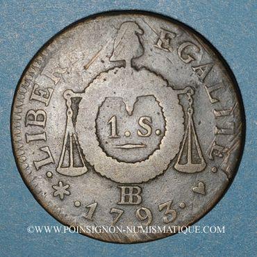 Monnaies Convention (1792-1795). Sol aux balances 1793BB. Strasbourg. Métal de cloche.