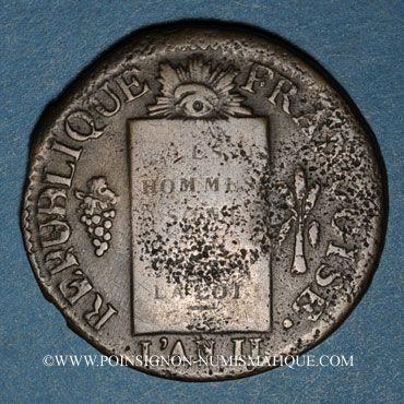 Monnaies Convention (1792-1795). Sol aux balances, type FRANCOISE 1793MA. Marseille. Différent tête en haut