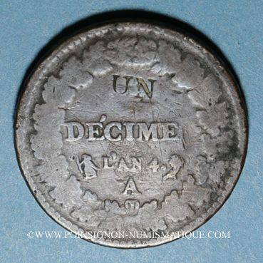 Monnaies Directoire (1795-99). UN décime, modification du 2 DECIMES avec S effacé an 4A