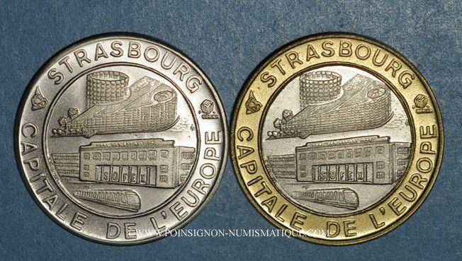 Monnaies Ecu des Villes. Strasbourg. 1 et 5 ecu 1994