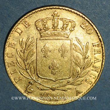 Monnaies 1ère restauration. 20 francs buste habillé 1814A. (PTL 900‰. 6,45 g). Type avec 4 court