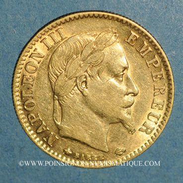 Monnaies 2e empire (1852-1870). 10 francs Napoléon III tête laurée 1865A. (PTL 900/1000. 3,22 g)