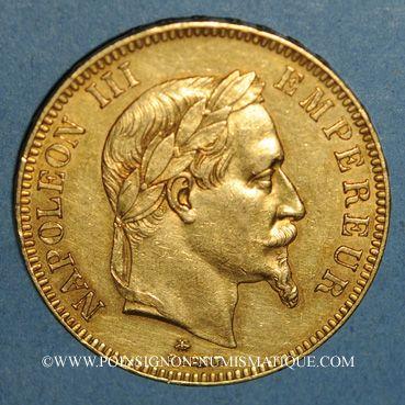 Monnaies 2e empire (1852-1870). 100 francs Napoléon III tête laurée 1866A. (PTL 900/1000. 32,25 g)