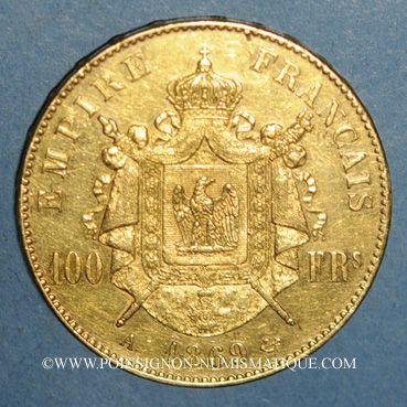 Monnaies 2e empire (1852-1870). 100 francs Napoléon III tête laurée 1869A. (PTL 900‰. 32,25 g)
