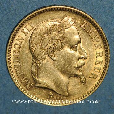 Monnaies 2e empire (1852-1870). 20 francs Napoléon III tête laurée 1862A. (PTL 900/1000. 6,45 g)