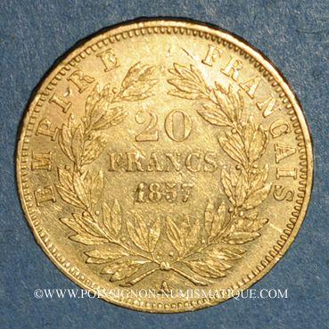 Monnaies 2e empire (1852-1870). 20 francs Napoléon III tête nue 1857A. (PTL900 /1000. 6,45 g)