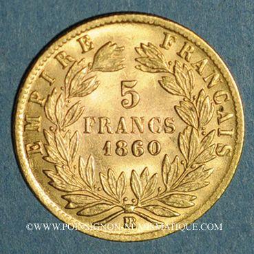 Monnaies 2e empire (1852-1870). 5 francs tête nue 1860 BB. Strasbourg. (PTL 900‰. 1,612 g)