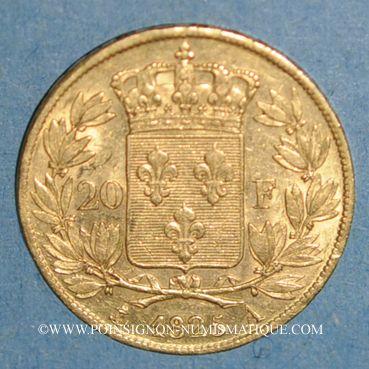 Monnaies Charles X (1824-1830). 20 francs 1825A. 900 /1000. 6,45 gr