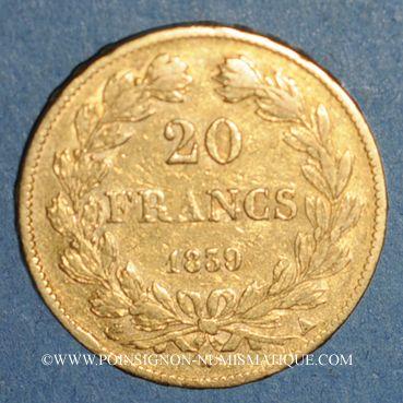 Monnaies Louis Philippe (1830-1848). 20 francs tête laurée 1839A. (PTL 900 /1000. 6,45 g)