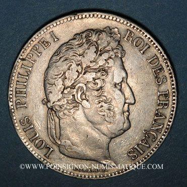 Monnaies Louis Philippe (1830-1848). 5 francs 1833W. Lille