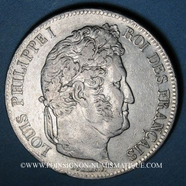 Monnaies Louis Philippe (1830-1848). 5 francs 1837A
