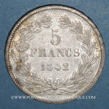Monnaies Louis Philippe (1830-1848). 5 francs 1842 W. Lille