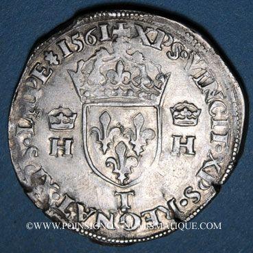 Monnaies Charles IX (1560-1574). Monnayage au nom de Henri II. Teston, 2e type, 1561T. Nantes
