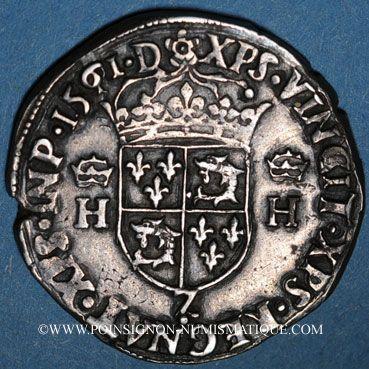 Monnaies Charles IX (1560-1574). Monnayage au nom de Henri II. Teston du Dauphiné 1561 Z. Grenoble (Z pointé)
