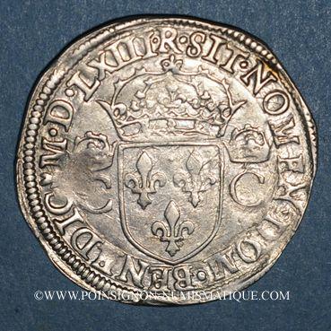 Monnaies Charles IX (1560-1574). Teston 1er type. 1563M. Toulouse