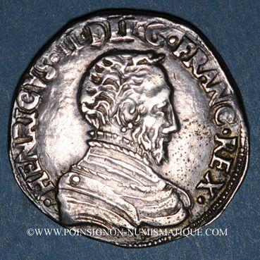 Monnaies Charles IX (1560-74). Monnayage au nom de Henri II. Teston du Dauphiné 1561Z et rose. Grenoble