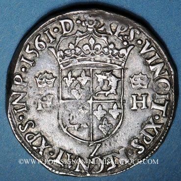 Monnaies Charles IX (1560-74). Monnayage au nom de Henri II. Teston du Dauphiné 1561Z Grenoble (Z non pointé)