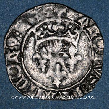 Monnaies Charles VI (1380-1422). Gros dit florette, 5e émission (2.7.1419). Troyes (annelet 14e)