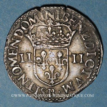 Monnaies Charles X, roi de la Ligue (1589-1590). 1/4 d'écu 1591B et point 15e. Rouen