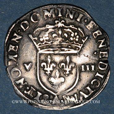 Monnaies Charles X, roi de la Ligue (1589-1590). 1/8 d'écu 1591A et point 18e. Paris