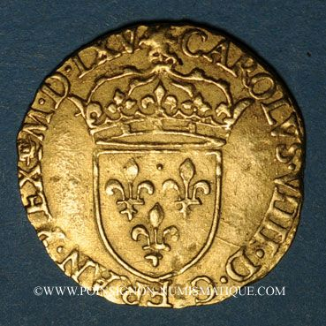Monnaies Charles IX (1560-1574). Demi-écu d'or au soleil (17 aout 1561) 1565 B. Rouen. R ! R !